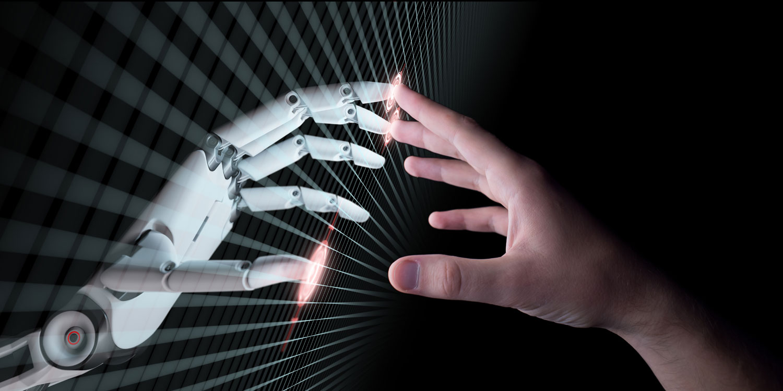 hånd og robot hånd